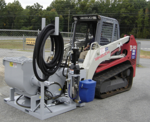 The Mainstay PortaMortar is powered by the use of a skid steer loader