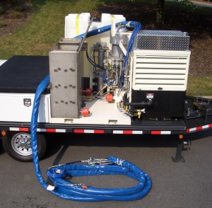 Fixed ratio proportioning unit for mixing and pumping 100% solids epoxy coatings